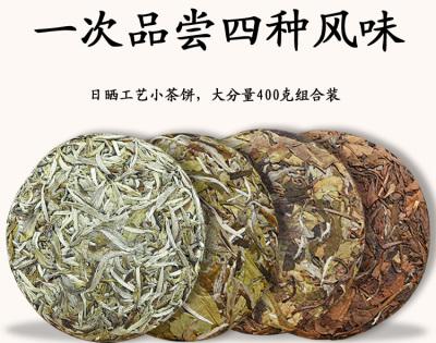 4套福鼎老白茶饼白毫银针白牡丹寿眉茶叶陈年贡眉春季茶叶共400g
